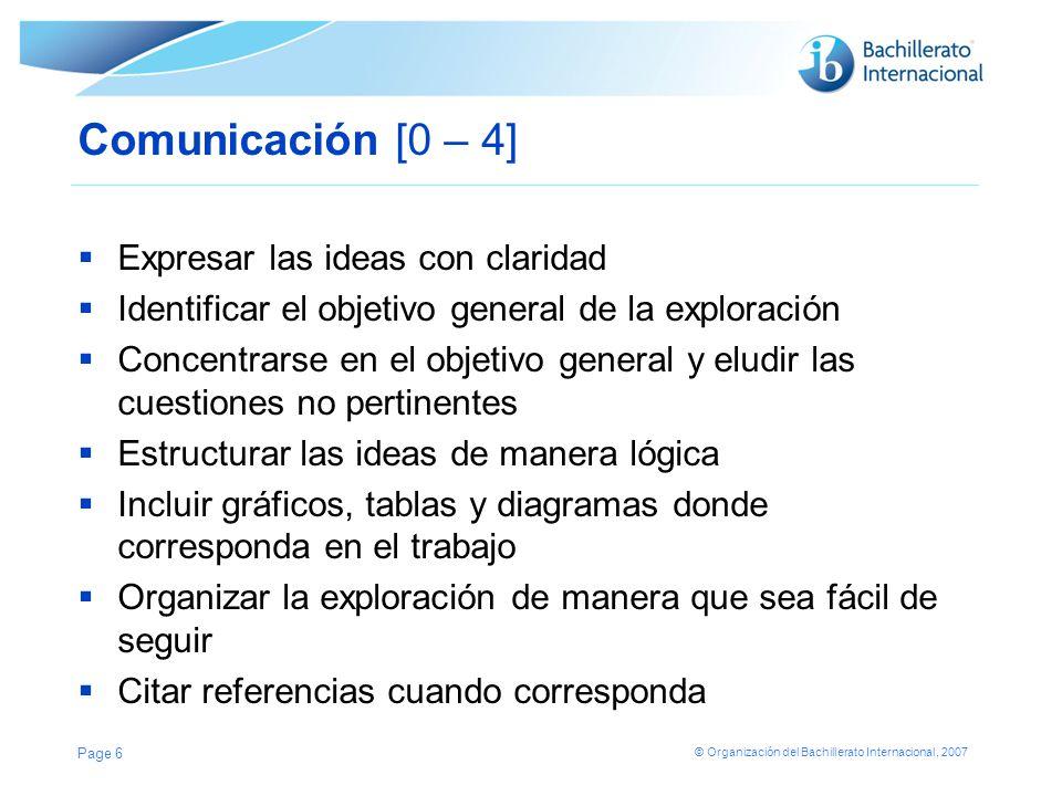 Comunicación [0 – 4] Expresar las ideas con claridad